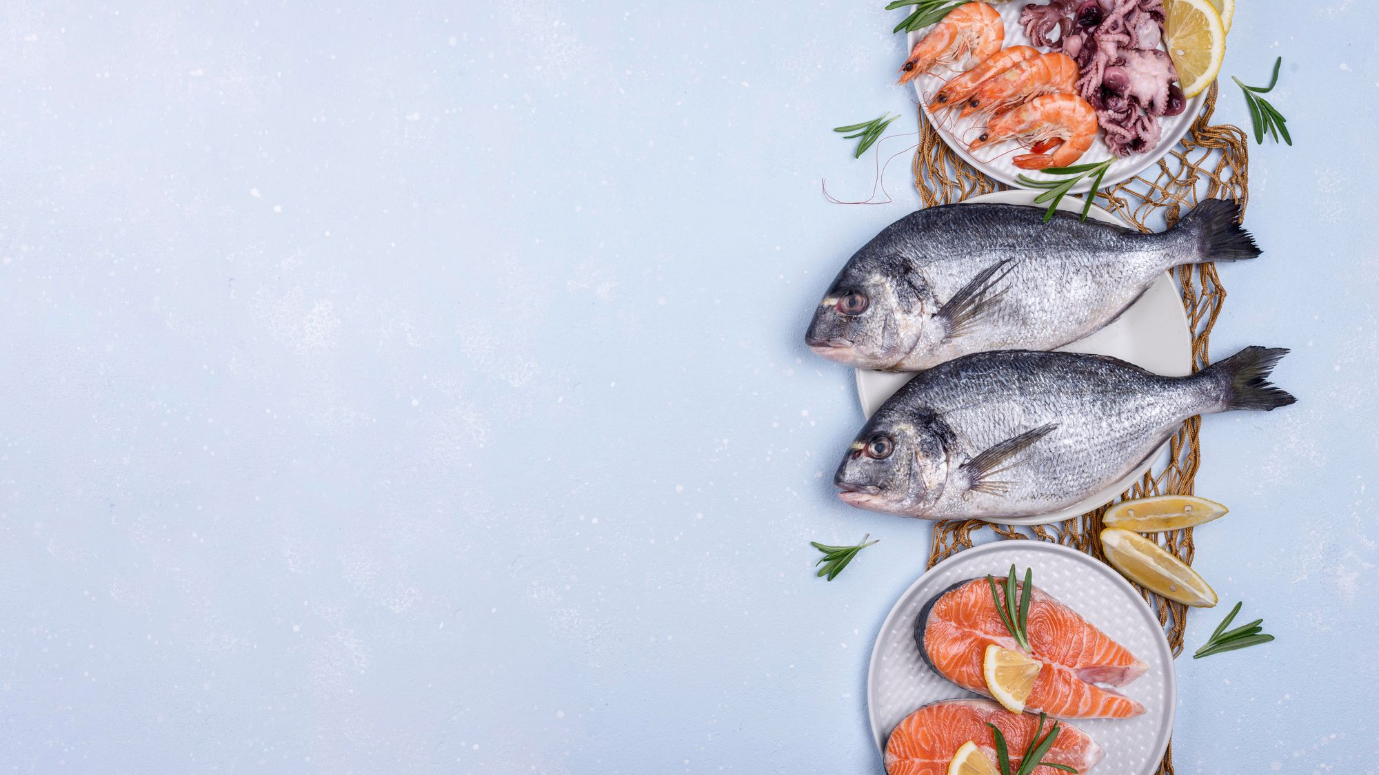 Peixes e frutos do mar. (Reprodução/Freepik)